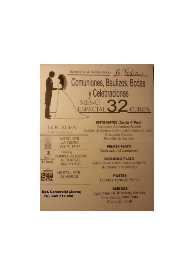 Bodas, bautizos, celebraciones en Hotel La Yedra y Camping El Torcal