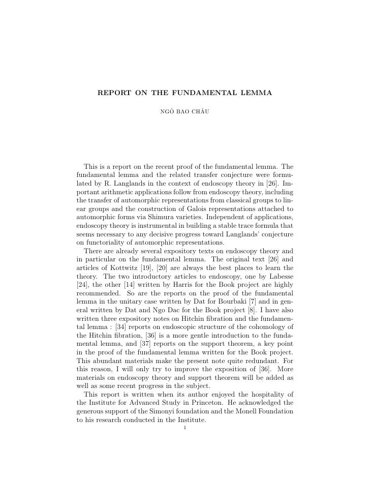 REPORT ON THE FUNDAMENTAL LEMMA                                ˆ       ˆ                             NGO BAO CHAU        T...