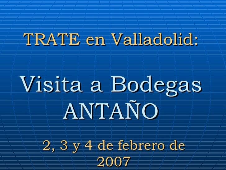 TRATE en Valladolid: Visita a Bodegas ANTAÑO 2, 3 y 4 de febrero de 2007