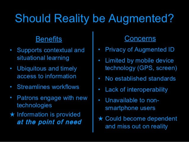 Advantages and disadvantages augmented reality