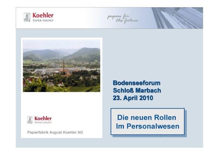 Bodensee-Forum 2010: Jürgen Kohl - Die neuen Rollen des Personalwesens