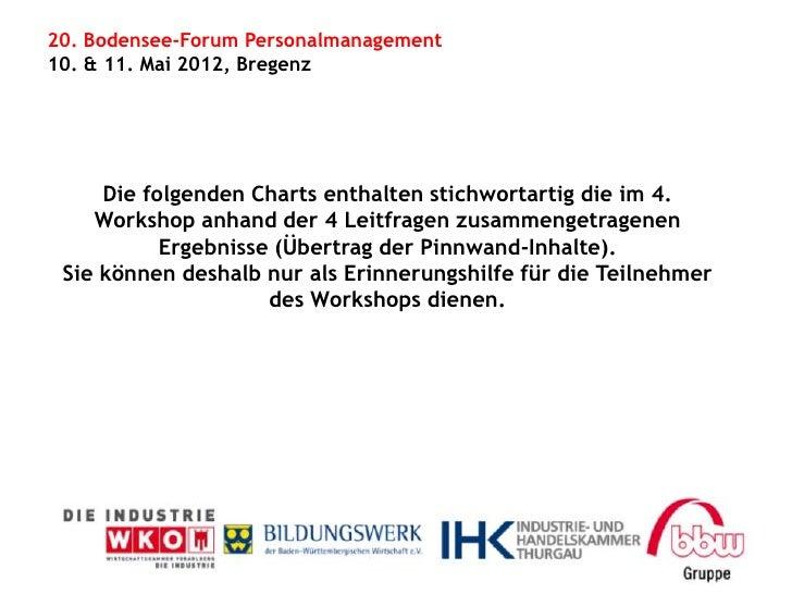20. Bodensee-Forum Personalmanagement10. & 11. Mai 2012, Bregenz     Die folgenden Charts enthalten stichwortartig die im ...