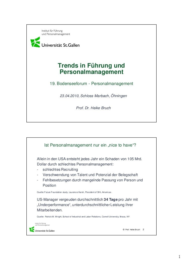Trends in Führung und                      Personalmanagement             19. Bodenseeforum - Personalmanagement          ...