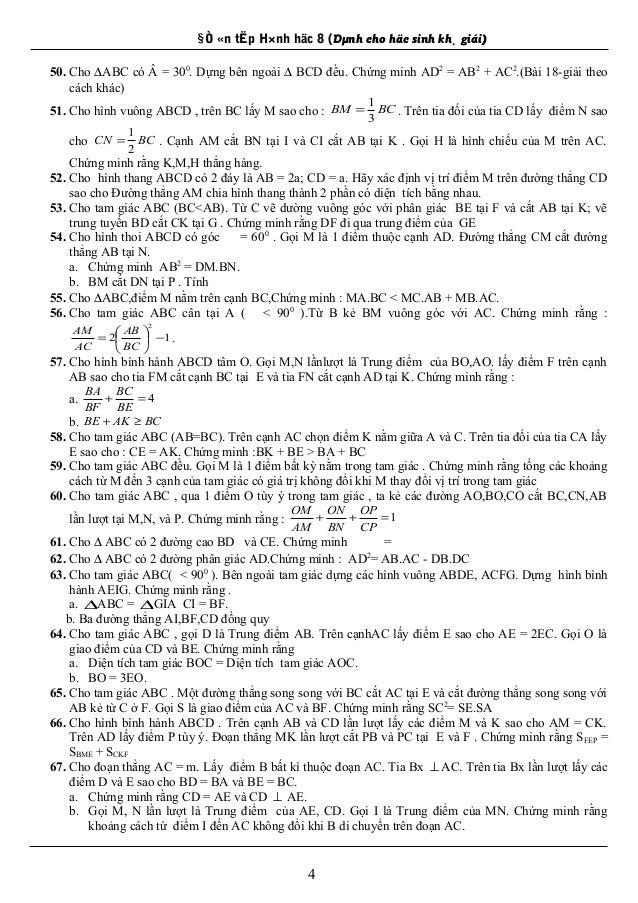 §Ò «n tËp H×nh häc 8 (Dµnh cho häc sinh kh¸ giái) 50. Cho ∆ABC có Â = 300 . Dựng bên ngoài ∆ BCD đều. Chứng minh AD2 = AB2...