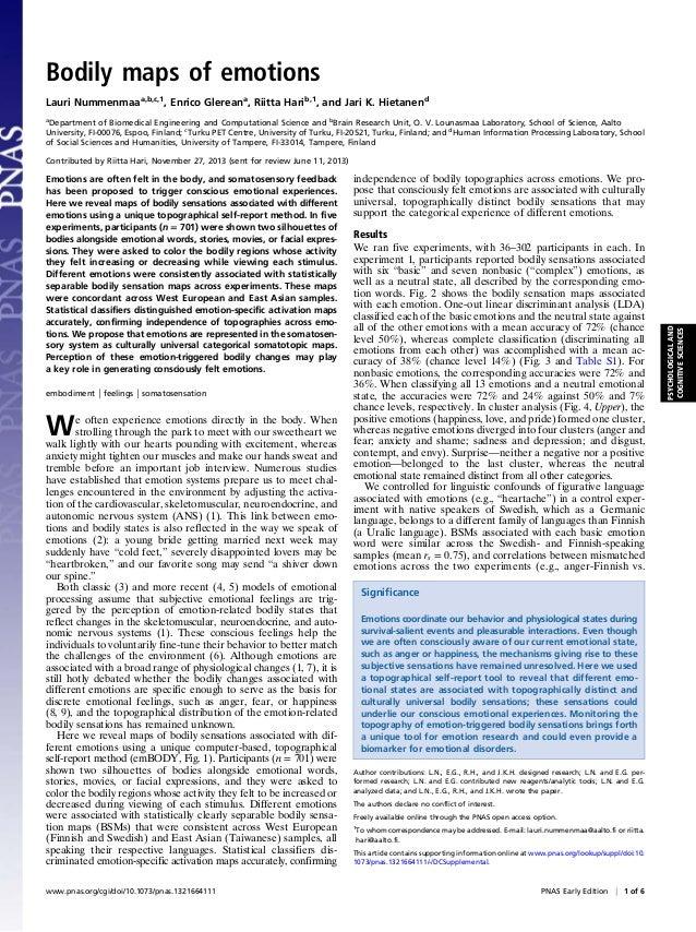 Bodily maps of emotions Lauri Nummenmaaa,b,c,1, Enrico Glereana, Riitta Harib,1, and Jari K. Hietanend a Department of Bio...