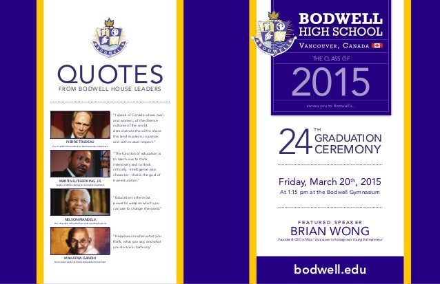 Bodwell Graduation 2015 Program & Schedule Of Events
