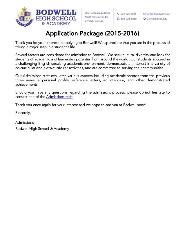 Bodwell High School Application Package 2015 2016