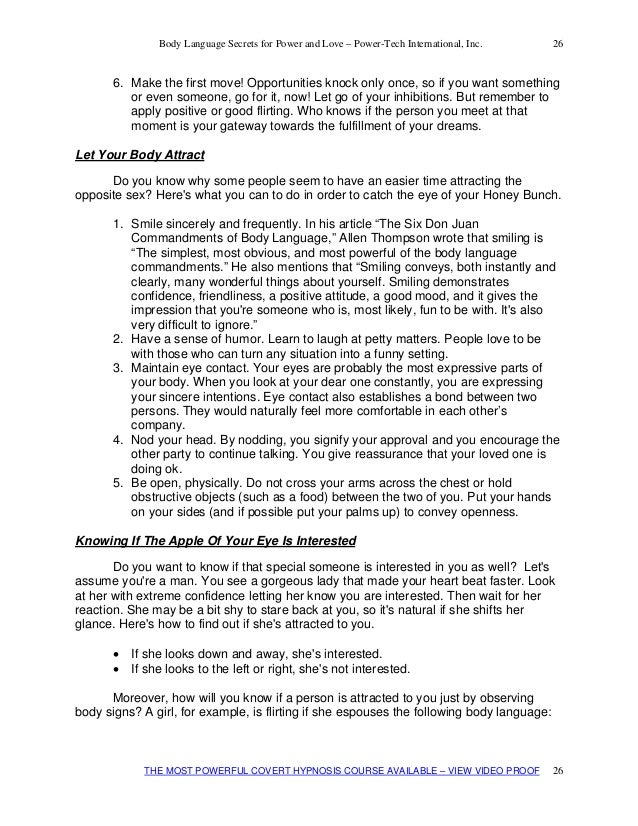 flirting moves that work body language test answers pdf template