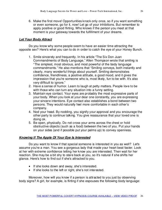 flirting moves that work body language test pdf template