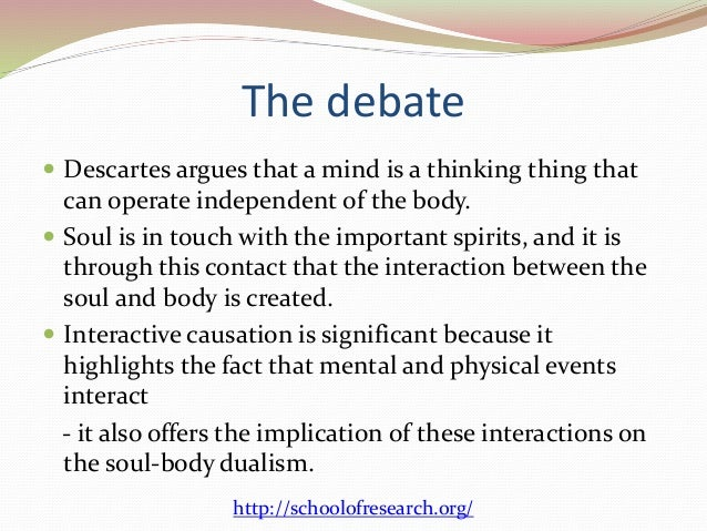 """descartes views on the mind and body Fatal doctrine of descartesspoke of mind and body, thought and its object, matter and mind,  views of rené descartes maintaining that there must be """"a mutual."""