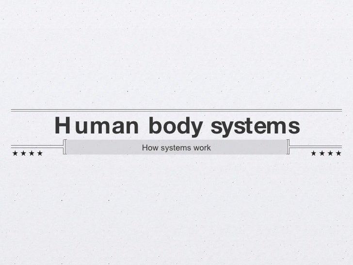 Human body systems <ul><li>How systems work </li></ul>