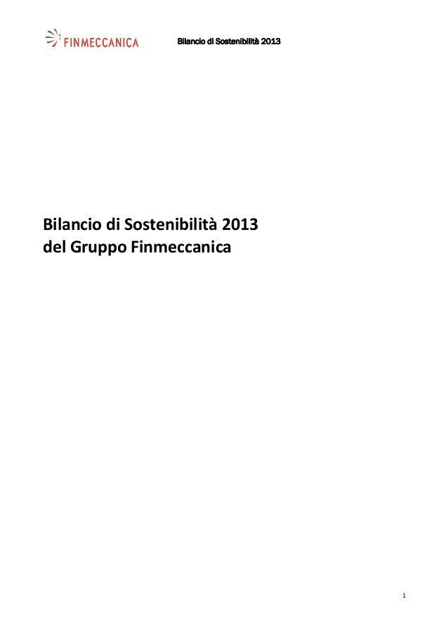 Bilancio di Sostenibilità 2013    1 BilanciodiSostenibilità2013 delGruppoFinmeccanica
