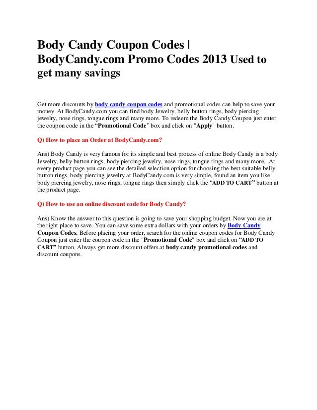 Bodycandy Coupons Body Candy Coupon Codes Bodycandy Com Promo Cod