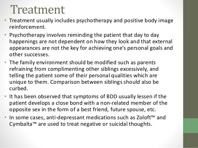body dysmorphic disorder essay High comorbidity of bdd in patients with gender identity disorder leads to an increased risk of suicide attempts up to 20%, whereas in patients with bdd it is only 15%.