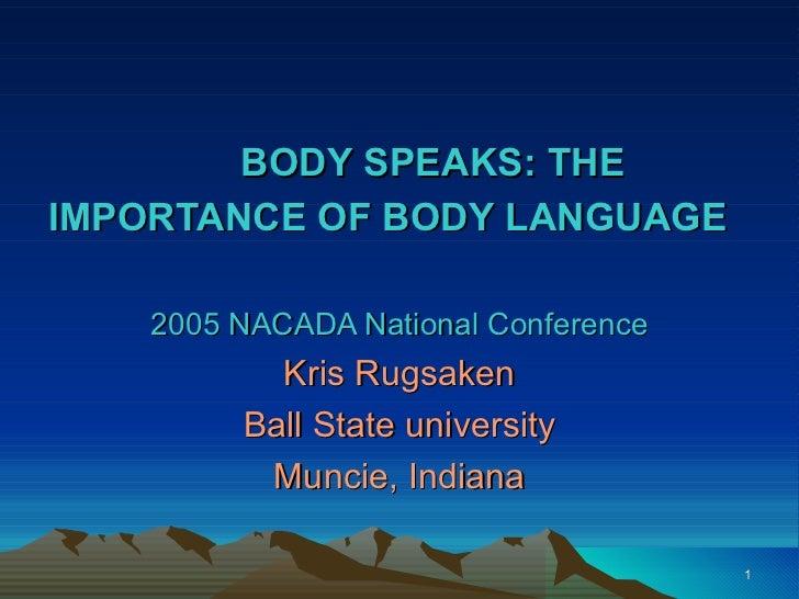 BODY SPEAKS: THEIMPORTANCE OF BODY LANGUAGE    2005 NACADA National Conference           Kris Rugsaken         Ball State ...