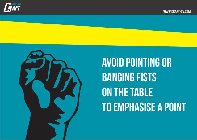 avoid pointing or banging fists on the table to emphasise a point