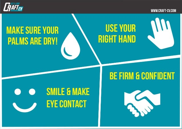 use your right hand make sure your palms are dry! be firm & Confident smile & make eye contact