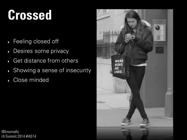 @bnunnally IA Summit 2014 #IAS14 Crossed ‣ Feeling closed off ‣ Desires some privacy ‣ Get distance from others ‣ Showing ...