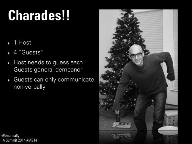 """@bnunnally IA Summit 2014 #IAS14 Charades!! ‣ 1 Host ‣ 4 """"Guests"""" ‣ Host needs to guess each Guests general demeanor ‣ Gue..."""