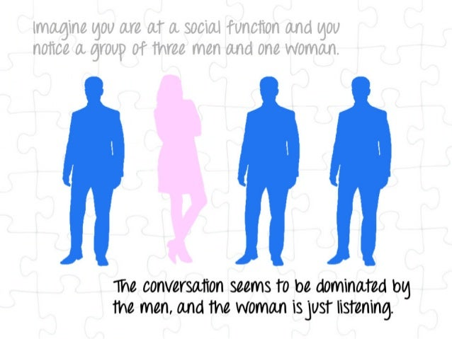 imagine lg0U are at a social function and lg0U notice a gY0l/ i) 0t three men and one woman.        the conversation seems...