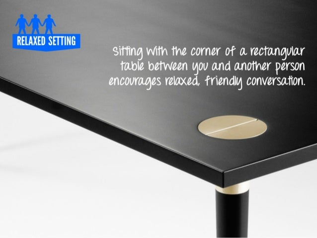 RELAXEO SETTINO  sitting with the corner of a rectangular table between gou and another person encourages relaxed,  friend...