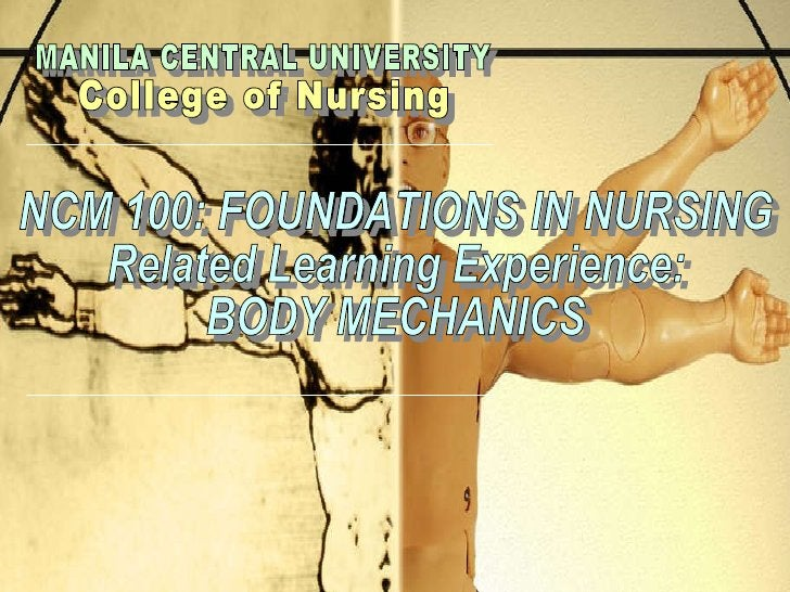 MANILA CENTRAL UNIVERSITY College of Nursing  NCM 100: FOUNDATIONS IN NURSING Related Learning Experience: BODY MECHANICS