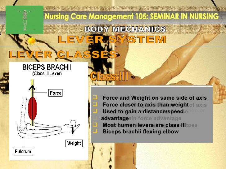BODY MECHANICS Nursing Care Management 105: SEMINAR IN NURSING LEVER SYSTEM <ul><li>Force and Weight on opposite sides of ...