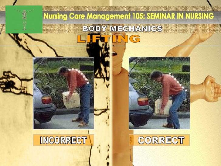 BODY MECHANICS Nursing Care Management 105: SEMINAR IN NURSING LIFTING INCORRECT CORRECT