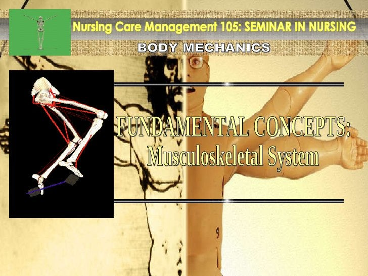 BODY MECHANICS Nursing Care Management 105: SEMINAR IN NURSING FUNDAMENTAL CONCEPTS: Musculoskeletal System