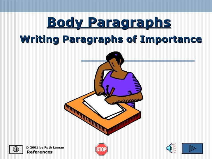 Body Paragraphs References © 2001 by Ruth Luman Writing Paragraphs of Importance
