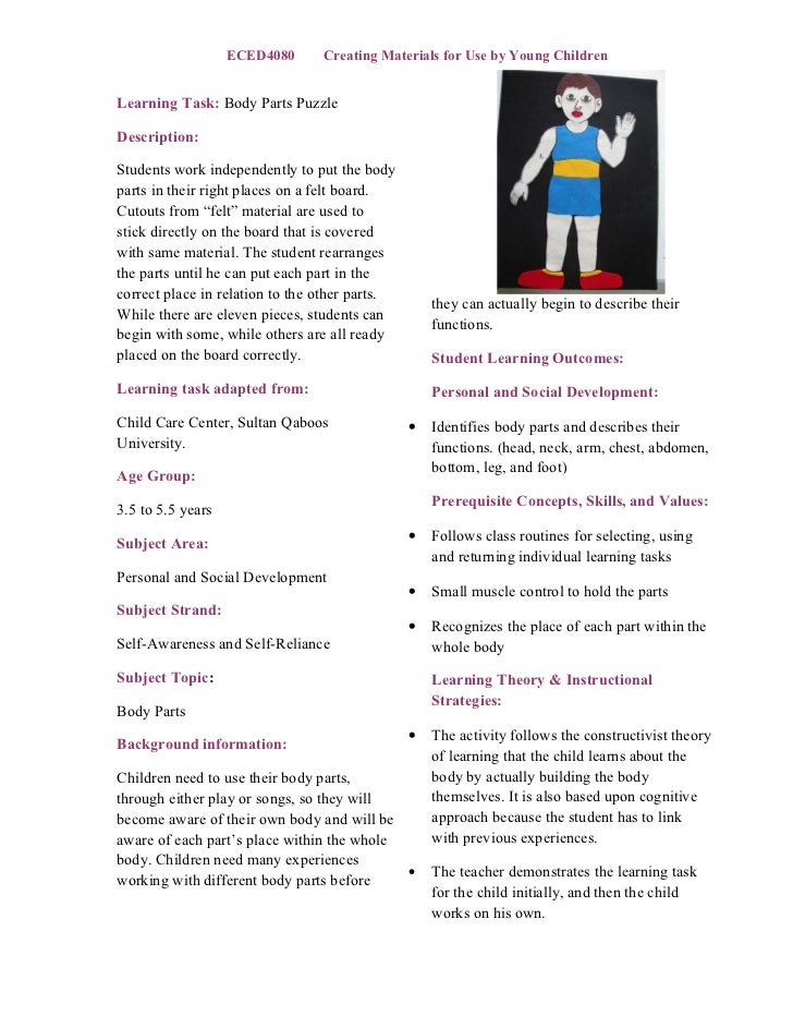 Body parts learning task