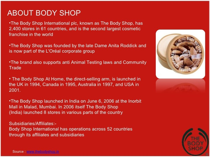 the body shop international case study A case study of ikea shanghai  ikea entered the chinese market in 1998 by first opening a shop in  to trade and international exchanges are constantly.