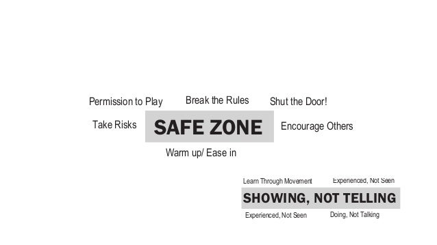 Don't be literal              SAFE ZONEYES, AND...          SHOWING, NOT TELLING