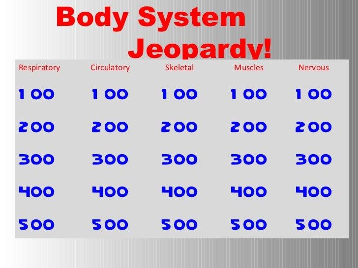 Body System    Jeopardy! <ul><li>Respiratory  Circulatory Skeletal Muscles Nervous </li></ul><ul><li>100 100 100 100 100 <...