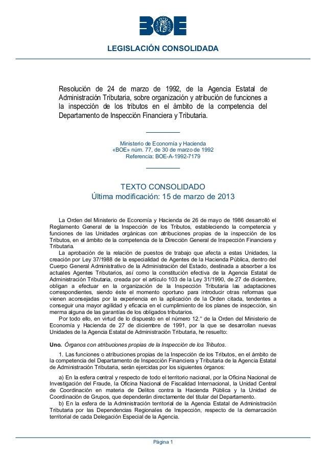 LEGISLACIÓN CONSOLIDADA    Resolución de 24 de marzo de 1992, de la Agencia Estatal de    Administración Tributaria, sobre...