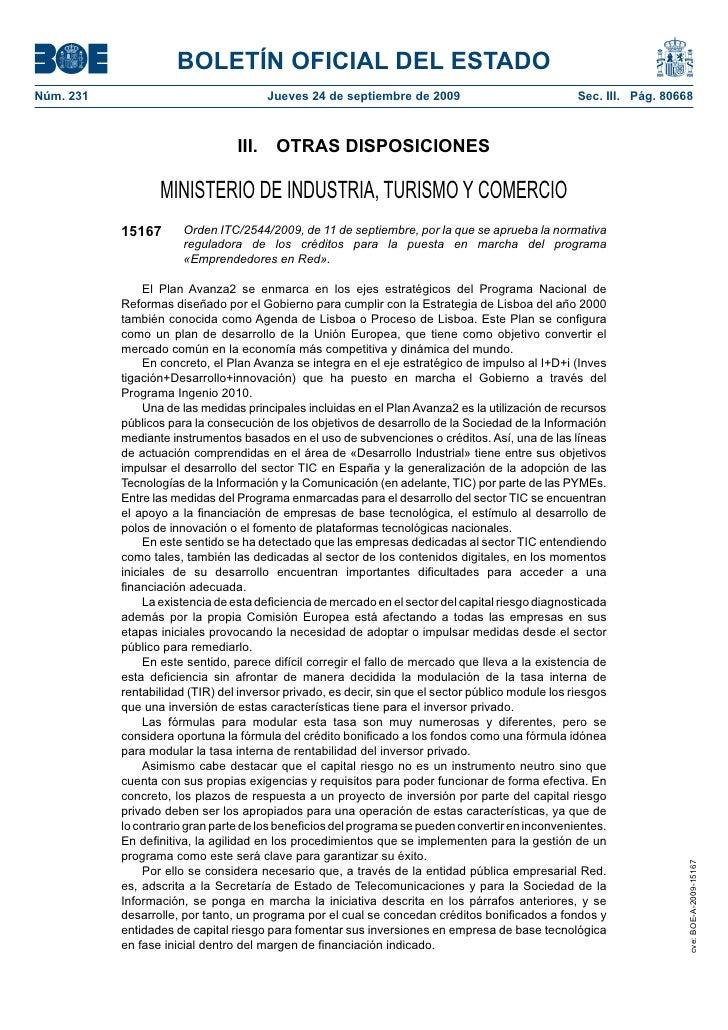 BOLETÍN OFICIAL DEL ESTADO Núm. 231                               Jueves 24 de septiembre de 2009                         ...