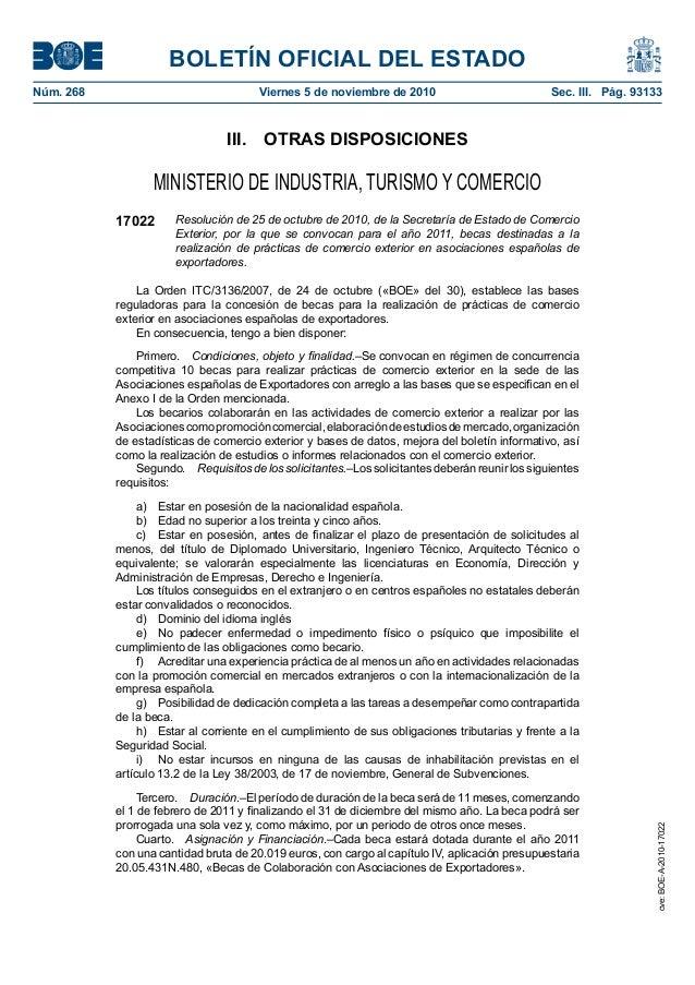 BOLETÍN OFICIAL DEL ESTADO Núm. 268 Viernes 5 de noviembre de 2010 Sec. III. Pág. 93133 III. OTRAS DISPOSICIONES MINIST...