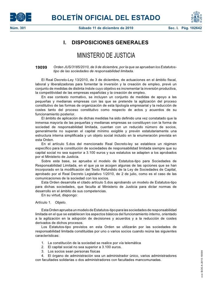 BOLETÍN OFICIAL DEL ESTADONúm. 301                               Sábado 11 de diciembre de 2010                           ...