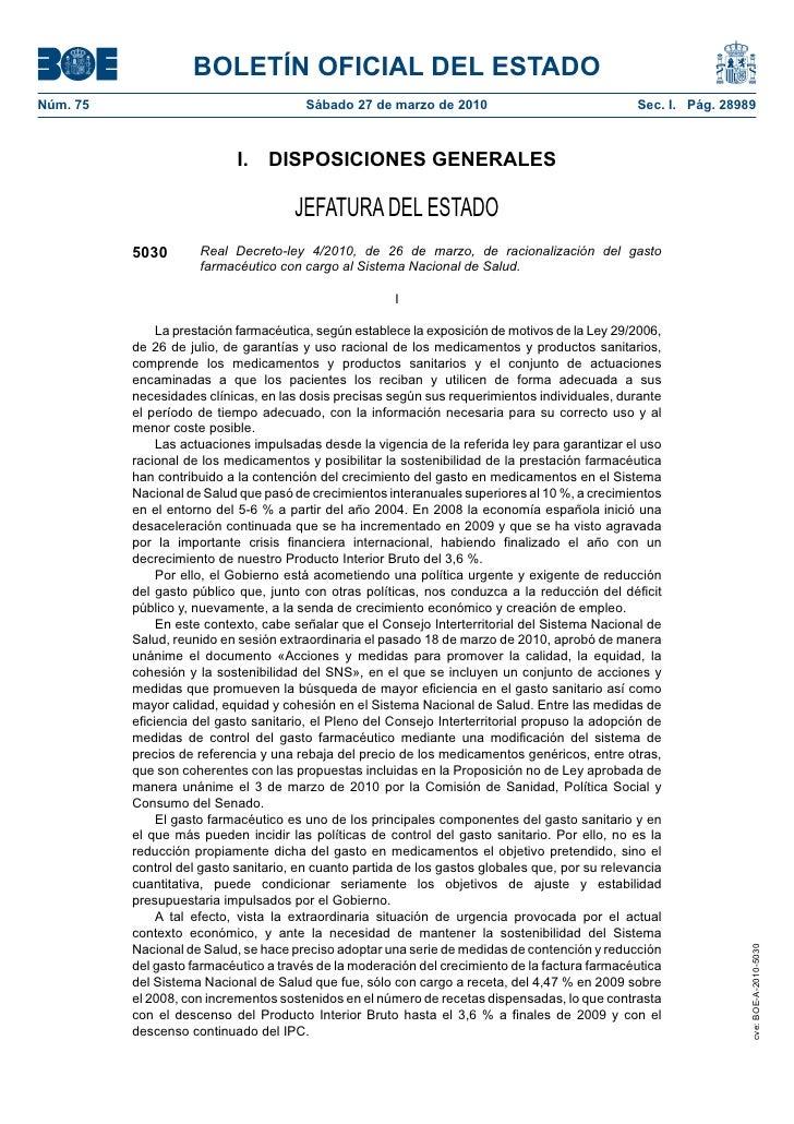 BOLETÍN OFICIAL DEL ESTADO Núm. 75                                 Sábado 27 de marzo de 2010                             ...