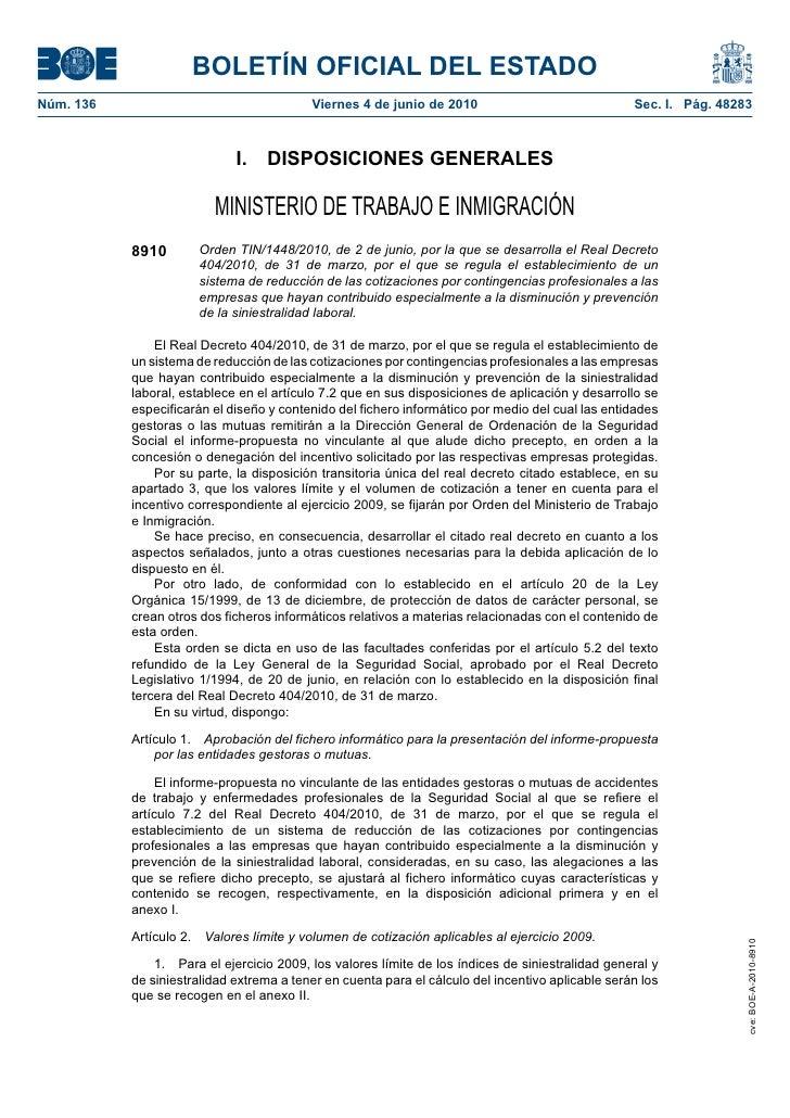 BOLETÍN OFICIAL DEL ESTADO Núm. 136                                  Viernes 4 de junio de 2010                           ...