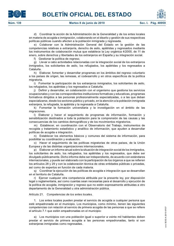Boe llei d 39 acollida de les persones immigrades i - Oficina virtual mutua general de catalunya ...