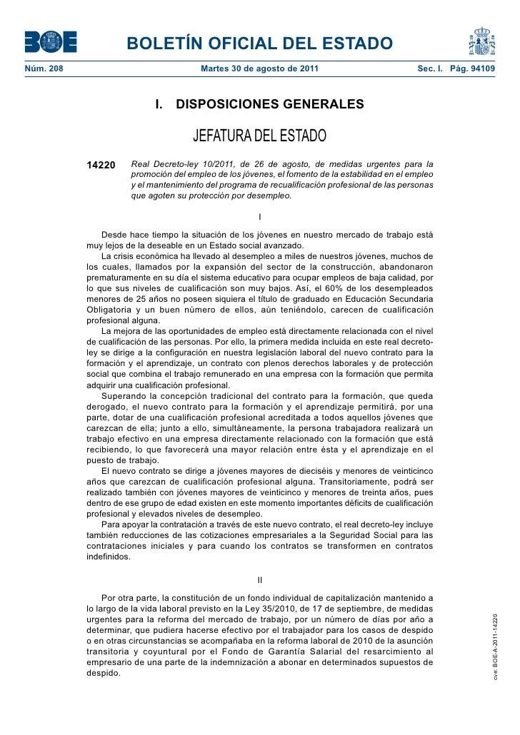 BOLETÍN OFICIAL DEL ESTADONúm. 208                                 Martes 30 de agosto de 2011                            ...