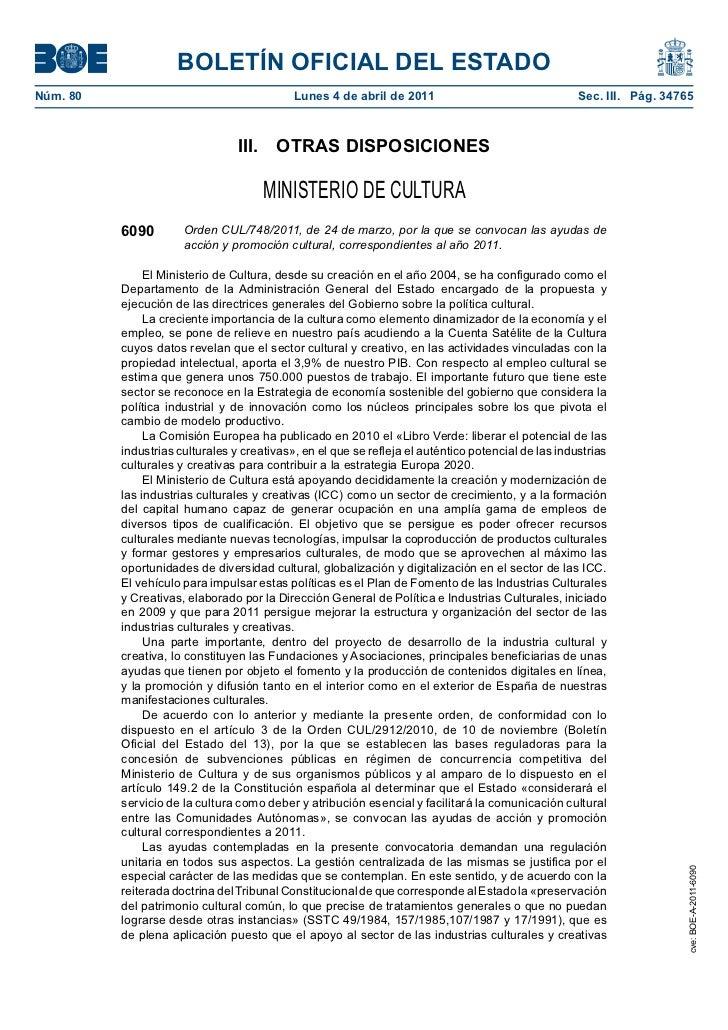 BOLETÍN OFICIAL DEL ESTADONúm. 80                                     Lunes 4 de abril de 2011                          ...