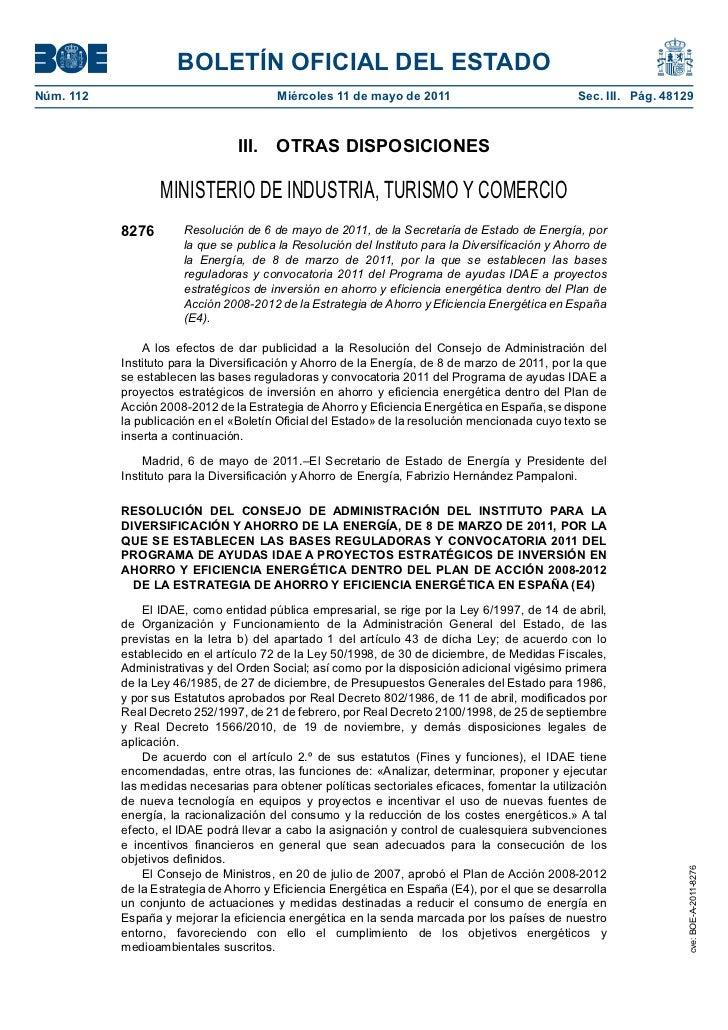 BOLETÍN OFICIAL DEL ESTADONúm. 112                                Miércoles 11 de mayo de 2011                            ...