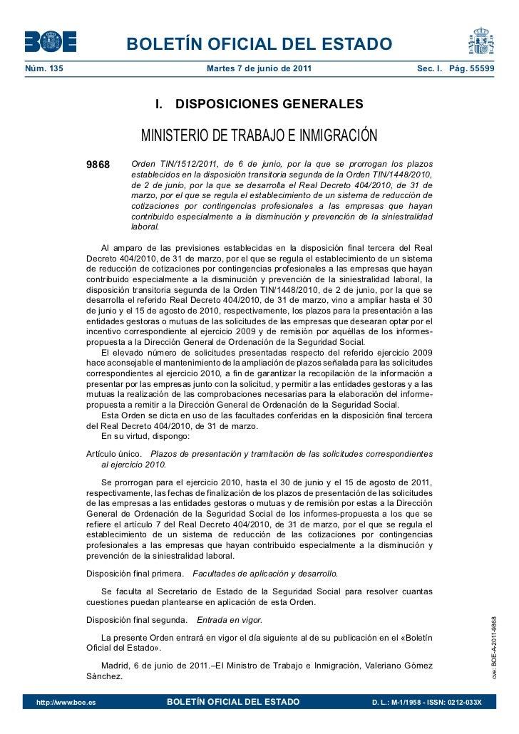 BOLETÍN OFICIAL DEL ESTADONúm. 135                                        Martes 7 de junio de 2011                       ...