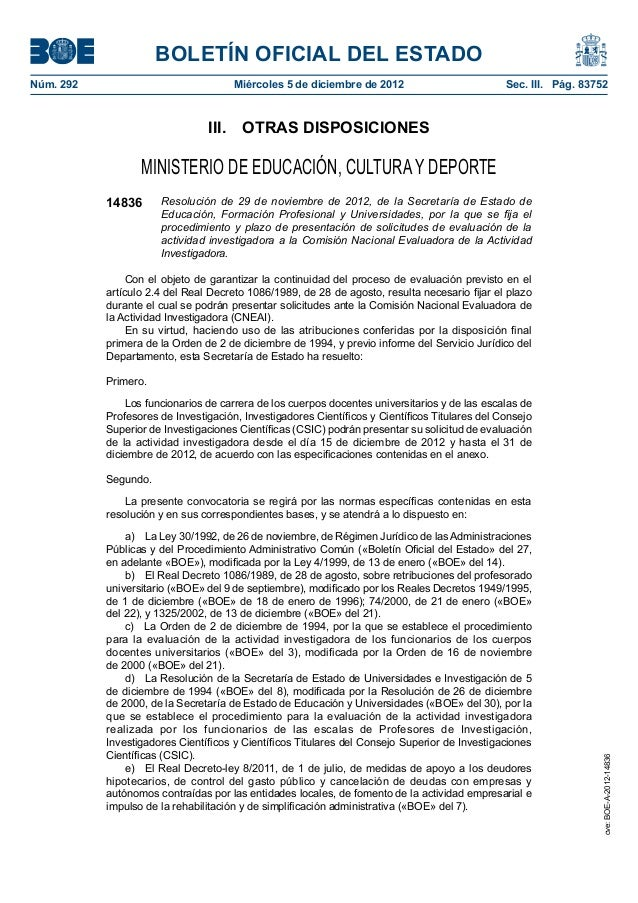 BOLETÍN OFICIAL DEL ESTADO  Núm. 292 Miércoles 5 de diciembre de 2012 Sec. III. Pág. 83752  III. OTRAS DISPOSICIONES  MINI...