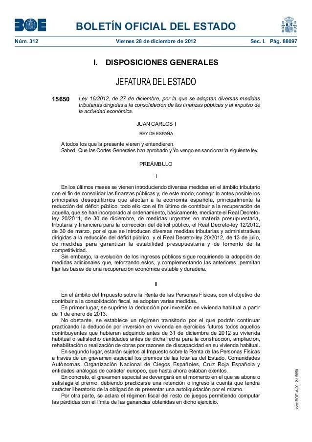 BOLETÍN OFICIAL DEL ESTADONúm. 312                               Viernes 28 de diciembre de 2012                        ...