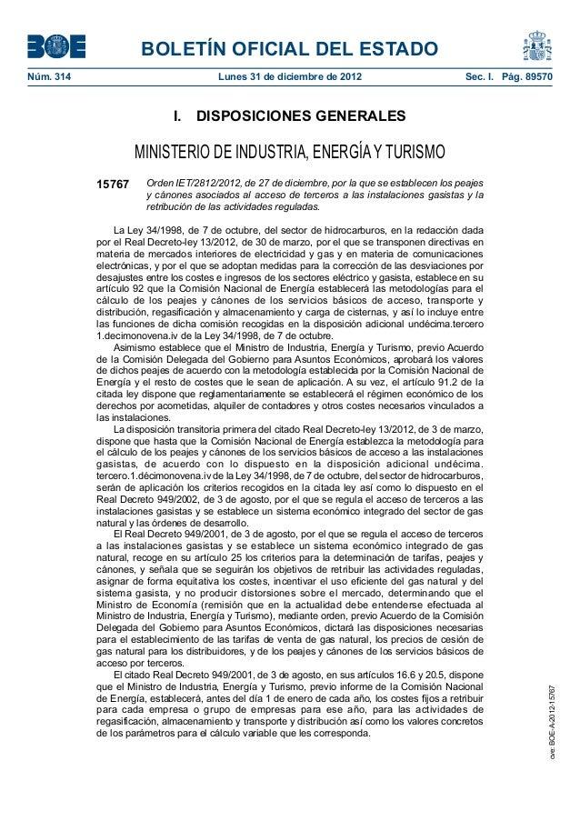 BOLETÍN OFICIAL DEL ESTADO Núm. 314  Lunes 31 de diciembre de 2012  Sec. I. Pág. 89570  I. DISPOSICIONES GENERALES  MIN...