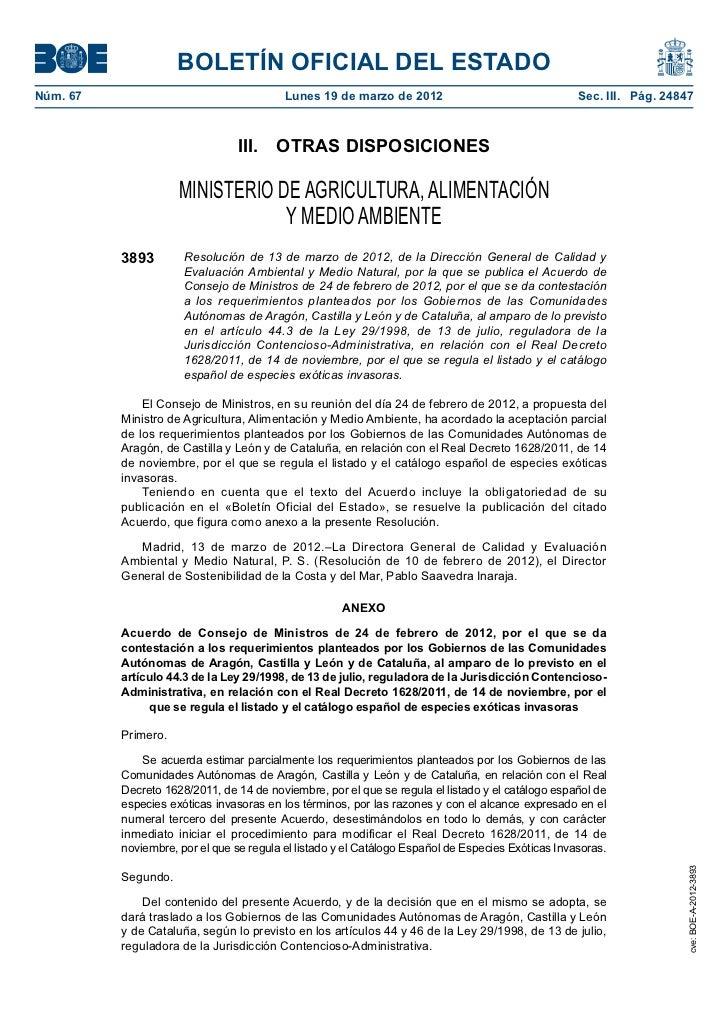 BOLETÍN OFICIAL DEL ESTADONúm. 67                                   Lunes 19 de marzo de 2012                           ...