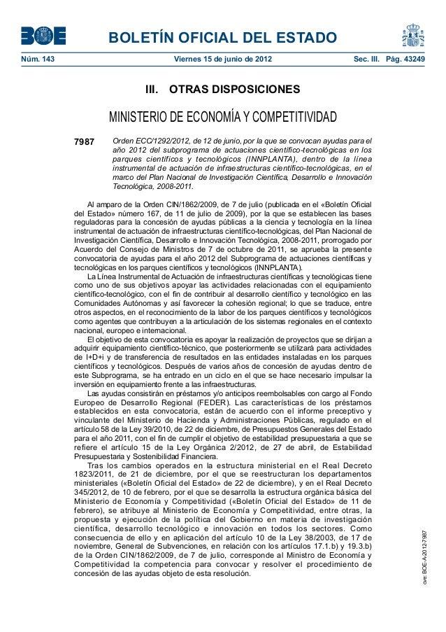 BOLETÍN OFICIAL DEL ESTADONúm. 143                                  Viernes 15 de junio de 2012                         ...